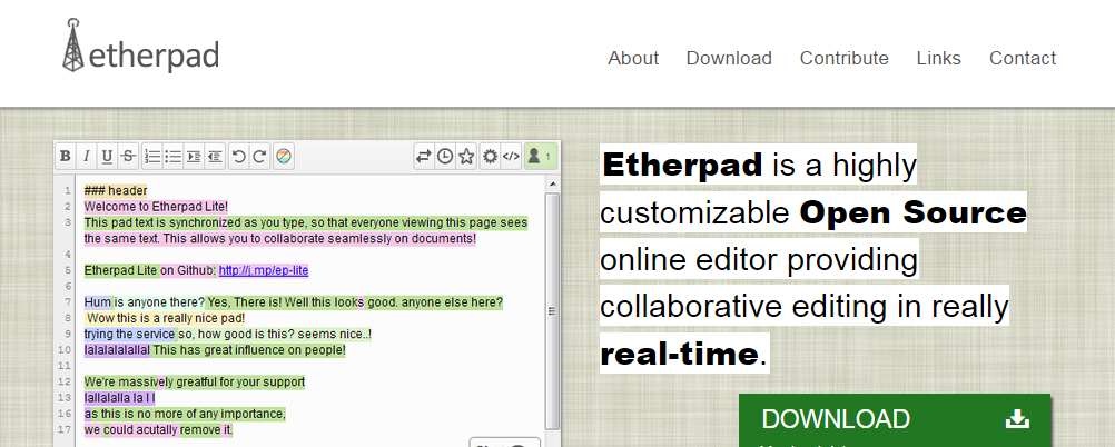 Etherpad Word Processors Online